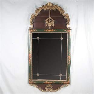 Mahogany and gilt dome top mirror