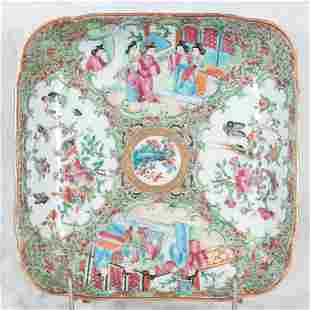 Rose Medallion porcelain square platter