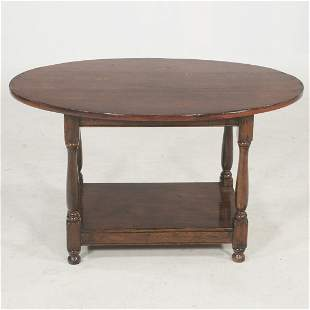 English oak bench made oval coffee table