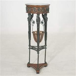 Maitland-Smith bronze and wood mirror top pedestal