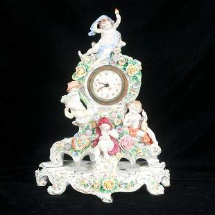 Schumann Dresden hand painted porcelain mantle clock