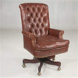 Hickory Chair desk chair with leather tufted upholstery