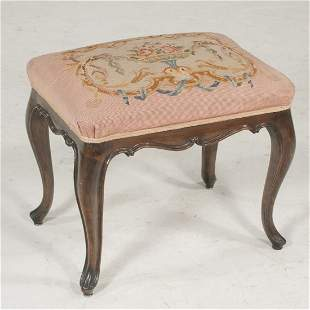 French Provencial walnut tapestry stool