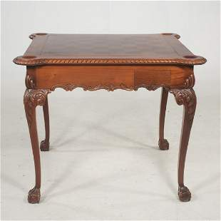 Chippendale style bench made walnut flip top game table