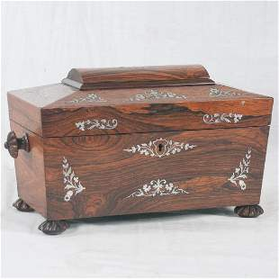 Rosewood tea caddy with coffered top