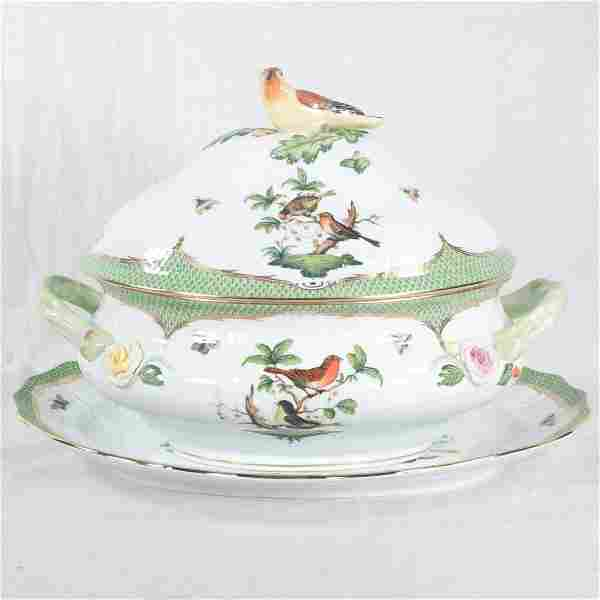 Herend Rothschild bird soup tureen and underplate