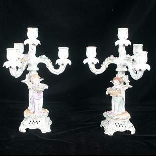 Pair of German porcelain four light candelabra
