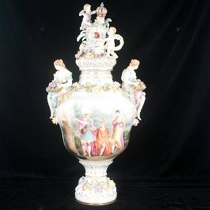 Fine Dresden porcelain urn with multi color floral