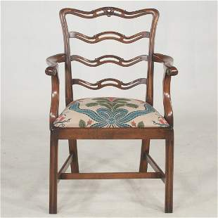 Chippendale style walnut finish armchair