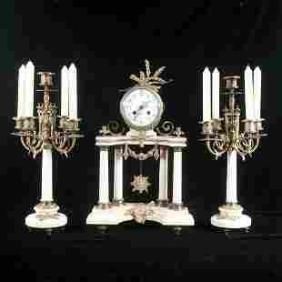 Three piece French clock set,