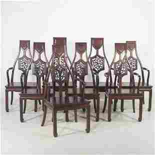 Set of 8 Asian inspired mahogany dining chairs with