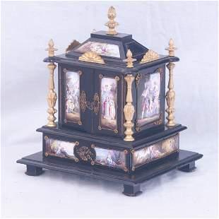 Fine Venetian jewelry box with enamel panels