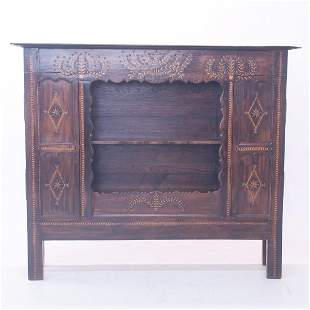 Early 19th century French oak and beech wood bookcase