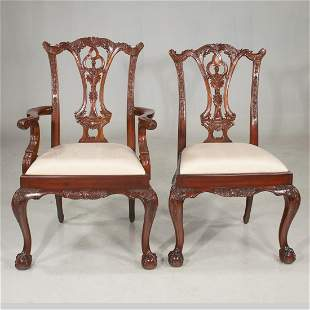 Set of eight Chippendale style mahogany dining chairs