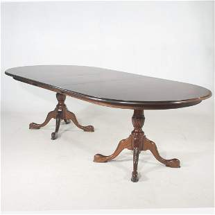 Queen Anne style two pedestal mahogany dining table