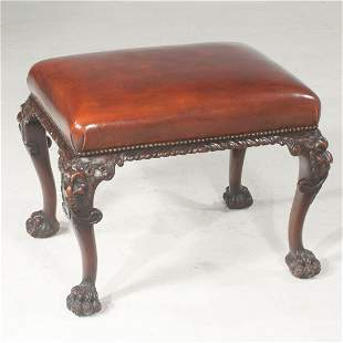 19th century Chippendale style walnut stool
