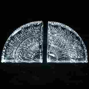 Pair of Waterford crystal demilune bookends