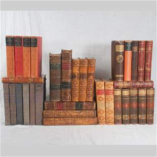 Group of 32 leather and cloth bound books