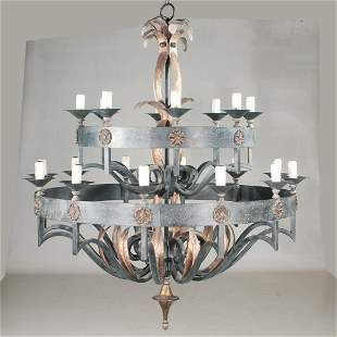20 light hand forged iron two tier chandelier