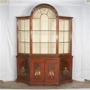 English style bench made dome top mahogany display