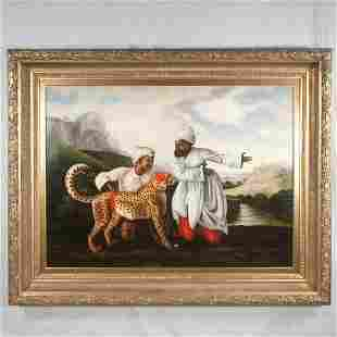 Oil painting on canvas, landscape with two Sultans