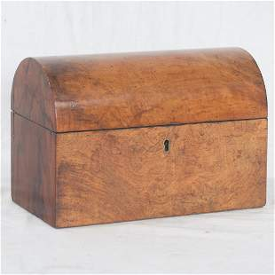English walnut dome top tea caddy with fitted interior