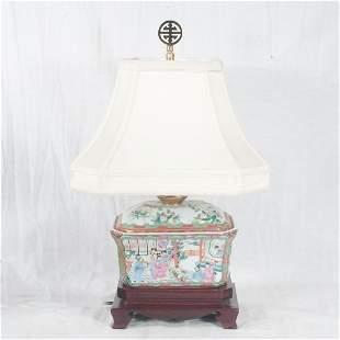 Rose Medallion porcelain covered tureen lamp