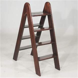 English bench made mahogany folding library ladder