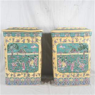 Pair of oriental porcelain covered garden seats