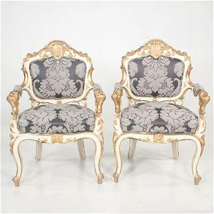 Fine pair of Venetian Creme-Peinte and partial giltwood