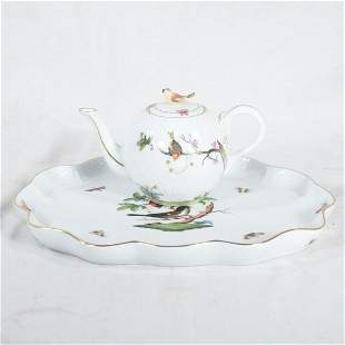 Herend scalloped platter and teapot