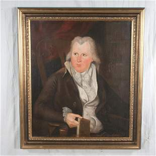 19th century oil painting on canvas, portrait of a man