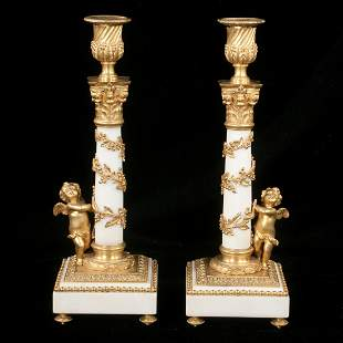 Pair of fine Louis XVI style dore bronze and marble