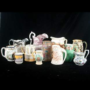 Group of 12 china pitchers, including Royal Doulton,