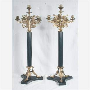 Pair of 6 light gilt bronze candelabra