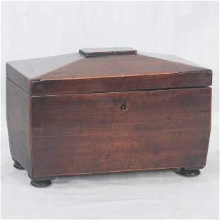 Sheraton mahogany tea caddy with coffered top
