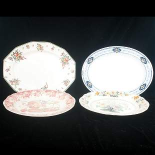 Group of four china oval platters