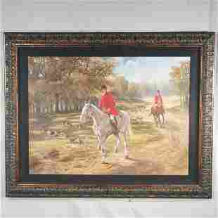 Oil painting on canvas, hunt scene