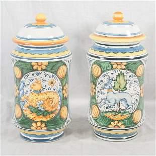 Pair of Italian Majolica covered urns