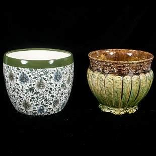 Doulton Burslem porcelain planter and Weller planter