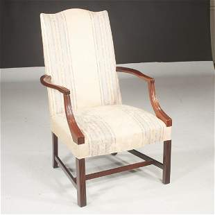 Hickory Chair Co. mahogany upholstered armchair