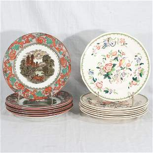 Set of 7 Royal Doulton dinner plates and 7 Coalport