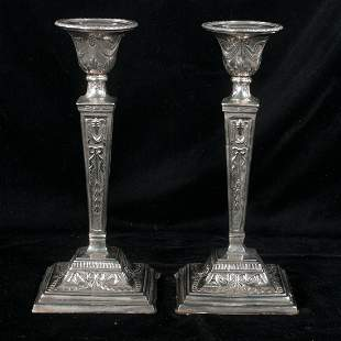 Pair of English silver plated candlesticks