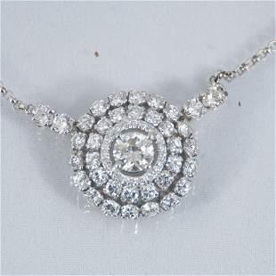 "19"" 14K white gold diamond necklace"