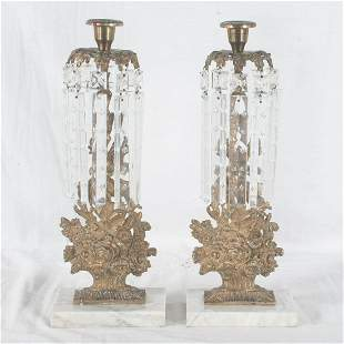 Pair of gilt bronze and crystal girondoles