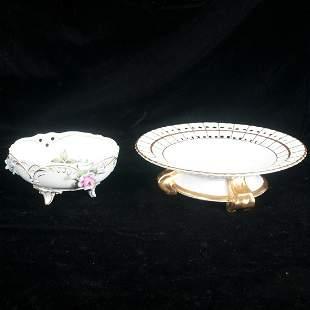 Porcelain compote and circular dish