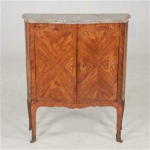 Petite Louis XV style kingwood and tulipwood marble top