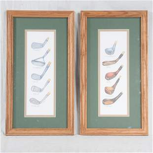 Pair of framed prints with antique golf clubs