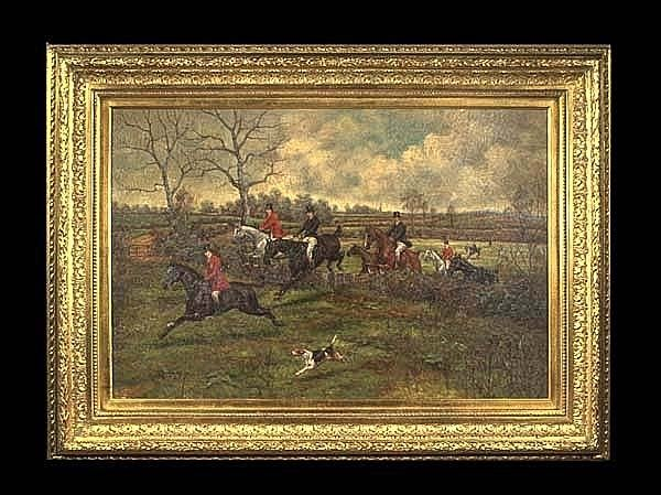 304: Oil painting on canvas, English fox hunting scene