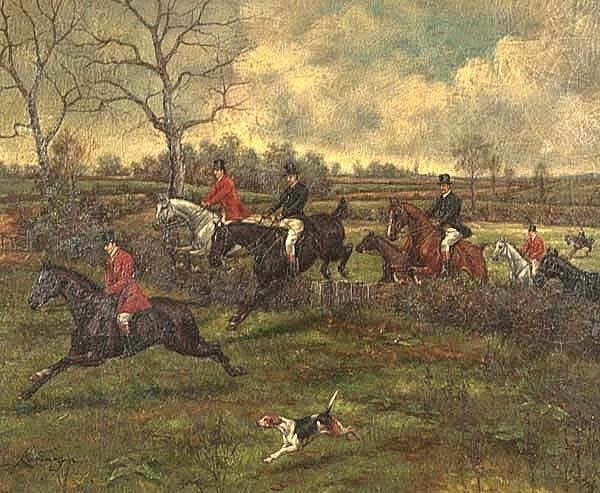 304: Oil painting on canvas, English fox hunting scene - 2